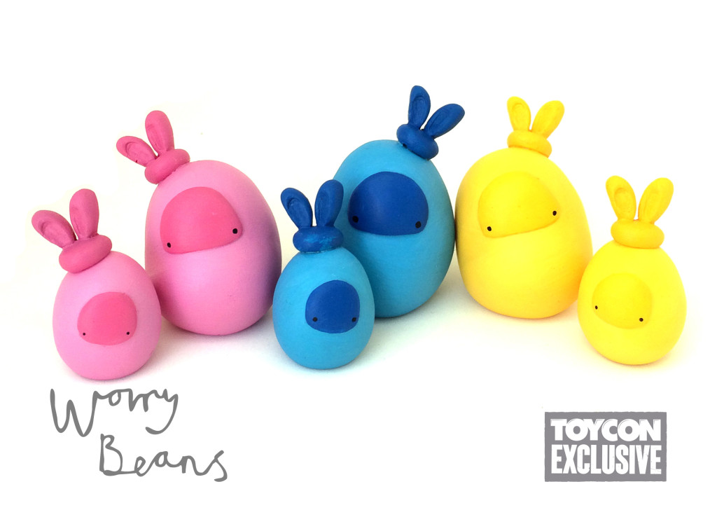 easter bunnies taylored curiosities worry beans toyconuk 2015 designer toy sculpt ooak handmade uk pink blue yellow toy artistry 2