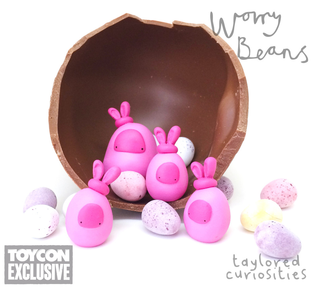 taylored curiosities easter bunny worry beans handmade designer toy toycon uk ooak copyright protected nest pink limited edition eggs chocolate 2
