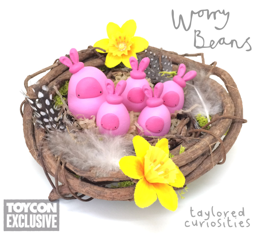 taylored curiosities easter bunny worry beans handmade designer toy toycon uk ooak copyright protected nest pink limited edition eggs chocolate 3