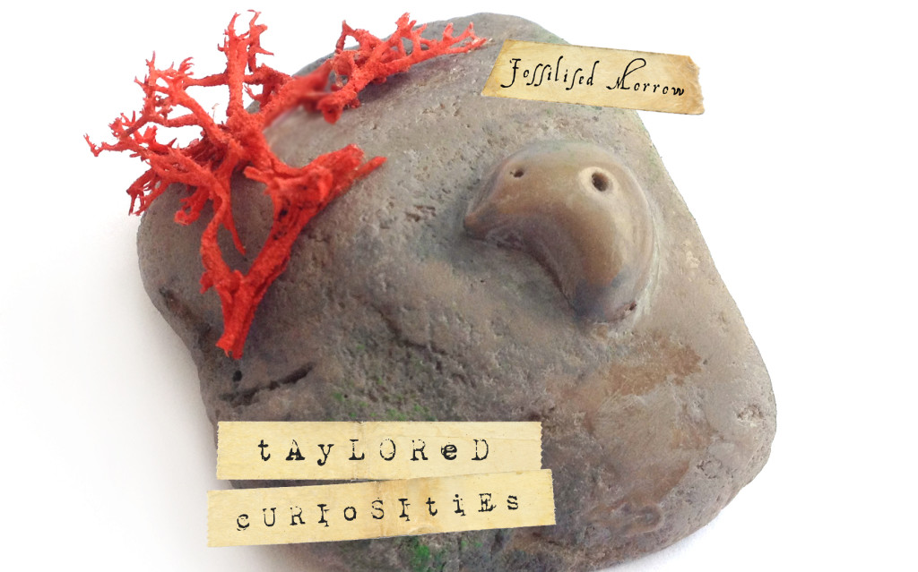 fossilised morrow 4 taylored curiosities designer toy art toy rock fossil banner