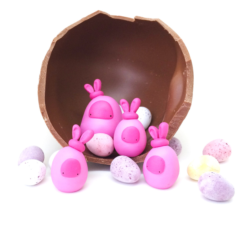 taylored curiosities easter bunny worry beans handmade designer toy toycon uk ooak copyright protected nest pink limited edition eggs chocolate