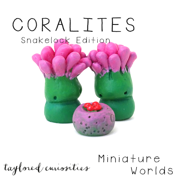 coralites taylored curiosities designer toy art toy artdoll dollhouse miniature snakelock anemone pink green sea marine eggs handmade copyright